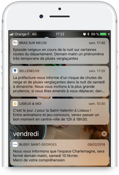 Notification push alerte météo