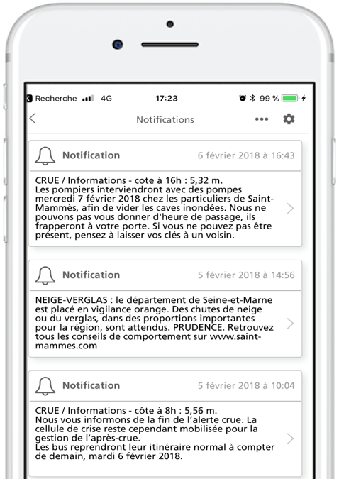 Notification push in-app alerte météo